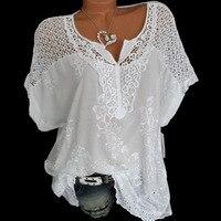 2019 летние женские блузки и топы с коротким рукавом, свободная белая кружевная Лоскутная рубашка, плюс размер 4xl 5xl, женские топы, повседневна...