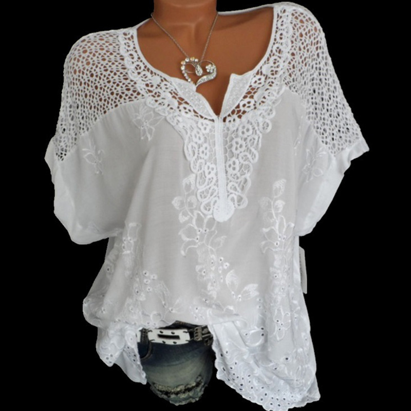 2019 Summer Short Sleeve Womens Blouses And Tops Loose White Lace Patchwork Shirt Plus Size 4xl 5xl Women Tops Casual Clothes(China)