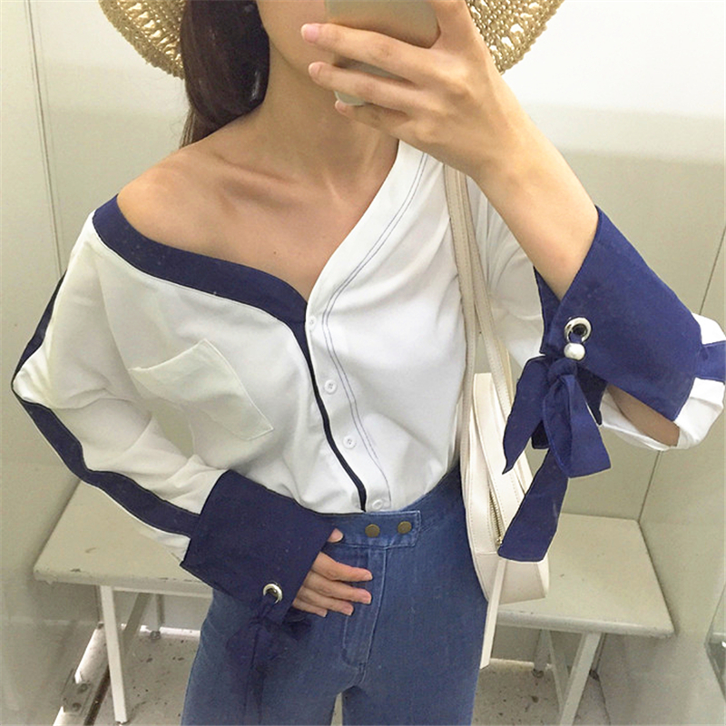 DoreenBow HIGH QUALIT Blue Trim Women Fashion Shirts Bowtie Long Sleeve V Neck Puff Sleeve Double Sided Wearing Tops, 1 Piece