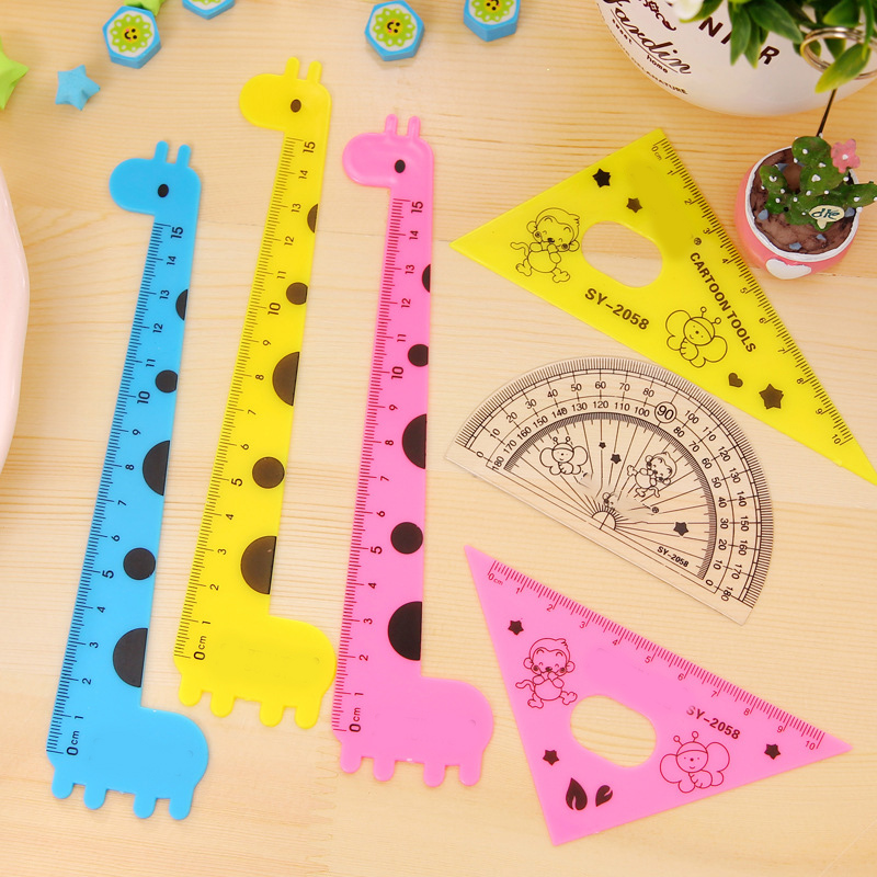 Ruler Set School Supplies Animal Cute School Tools Stationary Creative Cartoon Shape Students Ruler Set Color Random