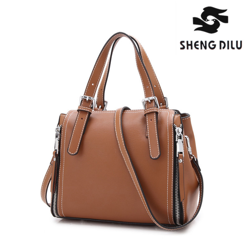New Arrival 2018 High quality women Genuine Leather handbags smooth shoulder bag Luxury female tote messenger bags for women 2016 new arrival women handbag luxury women panda wolf bag original women messenger bags tote thoulder shopper bags good quality