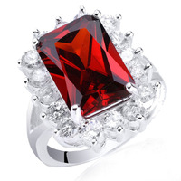 Womens Sterling 925 Silver Ring Red Garnet Oblong Cut Size 7 Jewelry Party Wear Support Customization R040 size 6 7 8 9