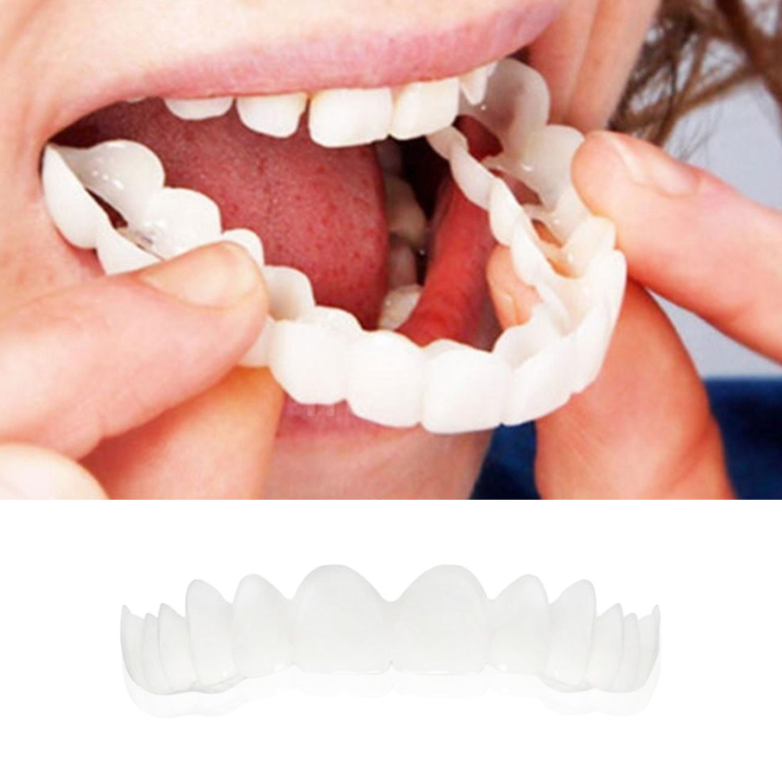 Image 3 - 5pcs Fit Dentes White Cover Denture Teeth Top Cosmetic bleaching Yellow Teeth Whitening Temporary Smile Comfort-in Teeth Whitening from Beauty & Health