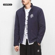 Китайский стиль стенд воротник мужские куртки зимние белье мужской моды случайные короткие ветровки пальто мужчины толщиной хлопка мягкий верхней одежды Y04