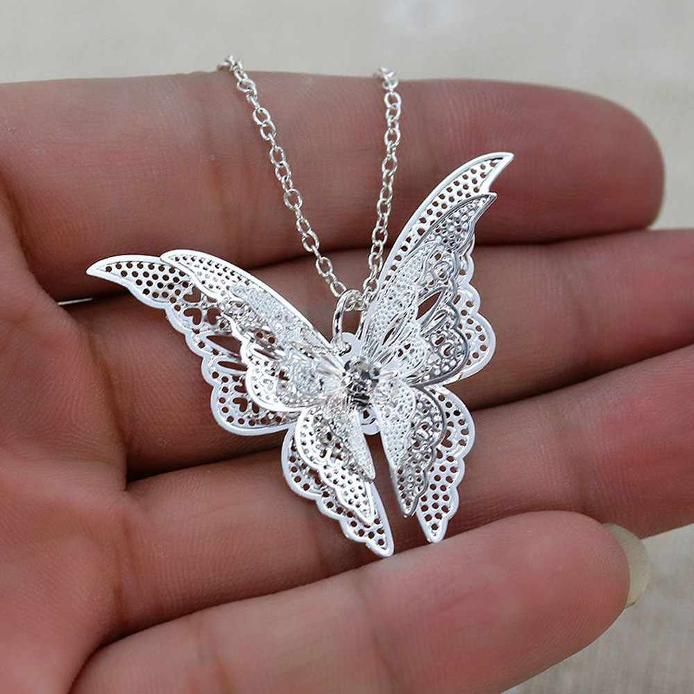 New Fashion Women Jewelry Butterfly Pendant Necklace Chain Women Lovely Butterfly Pendant Chain Necklace Jewelrycollar mujer YLL