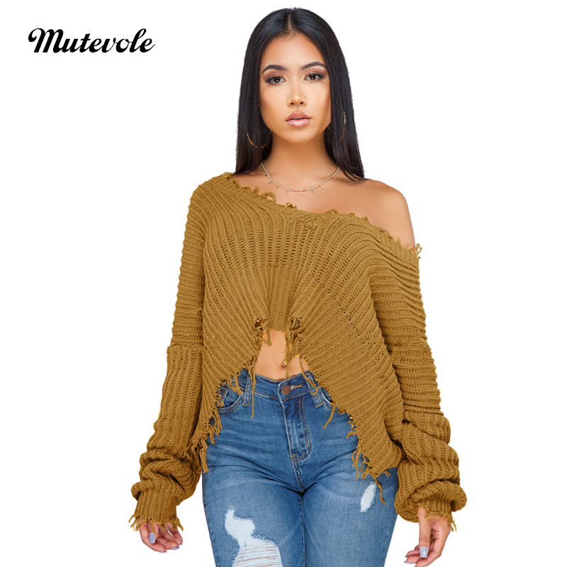 2b239df2db7 Mutevole V Neck Sweater Crop Top Women Winter Warm Knitted Sweater Pullover  Female Casual Solid Color