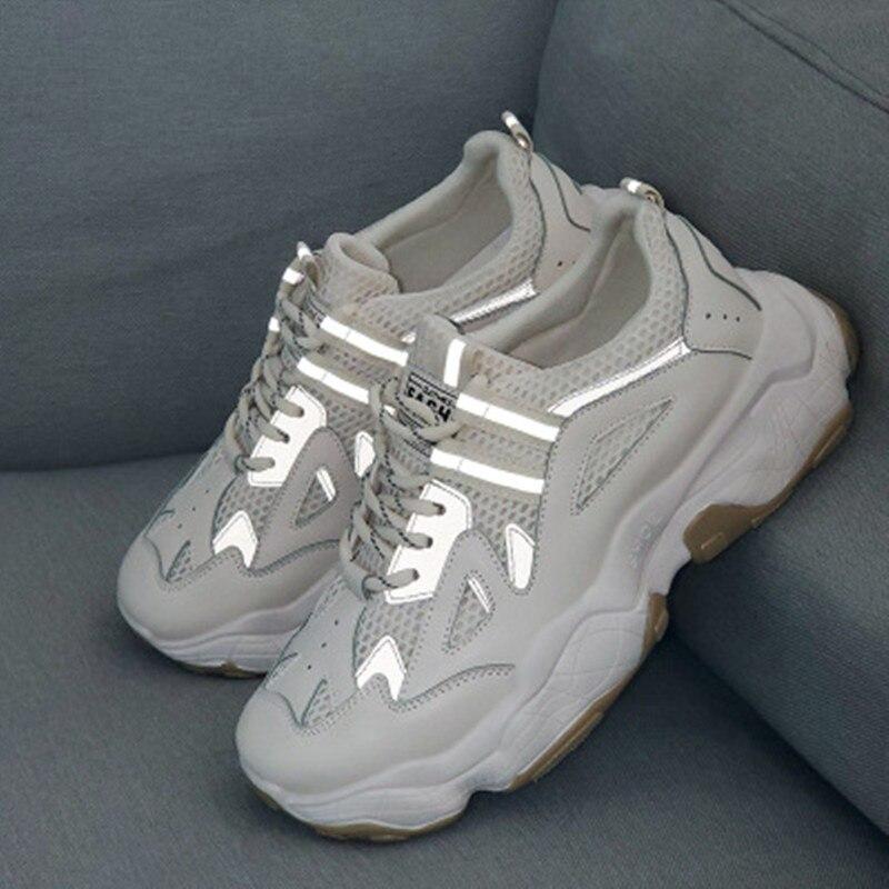 Ins Daddy Shoes Men Reflective Sneakers Summer Zapatillas Deportivas Hombre Fashion Breathable Casual Shoes Sapato Masculino