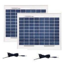 Solar Portable Panel 12v 10w 2Pcs Solar Home System 24v 20w Camping Caravan Charge Solaire Solar Lamp 12v Solar Charger