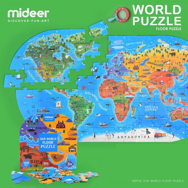 Micerf 100 pièces enfants cognitifs Puzzle jouets géographie humaine carte du monde étage Puzzle jeu boîte-cadeau