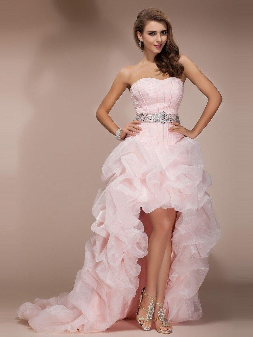Elegant Custom Made Sequin Sexy Long Beautiful High Low Light Pink 2018 Prom Gowns vestido de noiva   bridesmaid     dresses