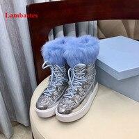 Зимние сапоги Для женщин синий мех кролика Bling дизайнерские зимние ботинки на платформе украшения из металла Ourdoot обувь пушистые ботильоны