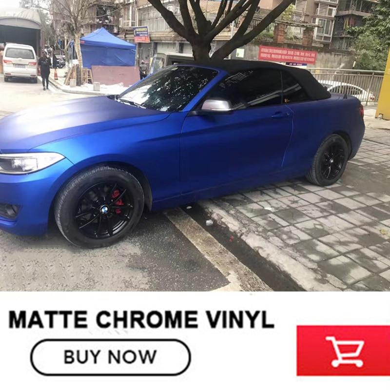 Us 69 0 Hot Sale Colored Car Vinyl Wrap Matte Chrome Blue Matt Chrome Vinyl No Residual Glue Size 1 52 20m In Car Stickers From Automobiles