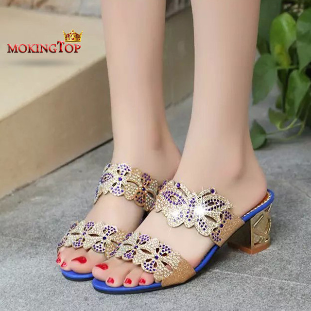 Mokingtop Kadın Sandalet Kadınlar Rhinestone Sandalet Moda Burnu açık Ayakkabı Bohemia yüksek topuk ayakkabı sandalet yaz # es5