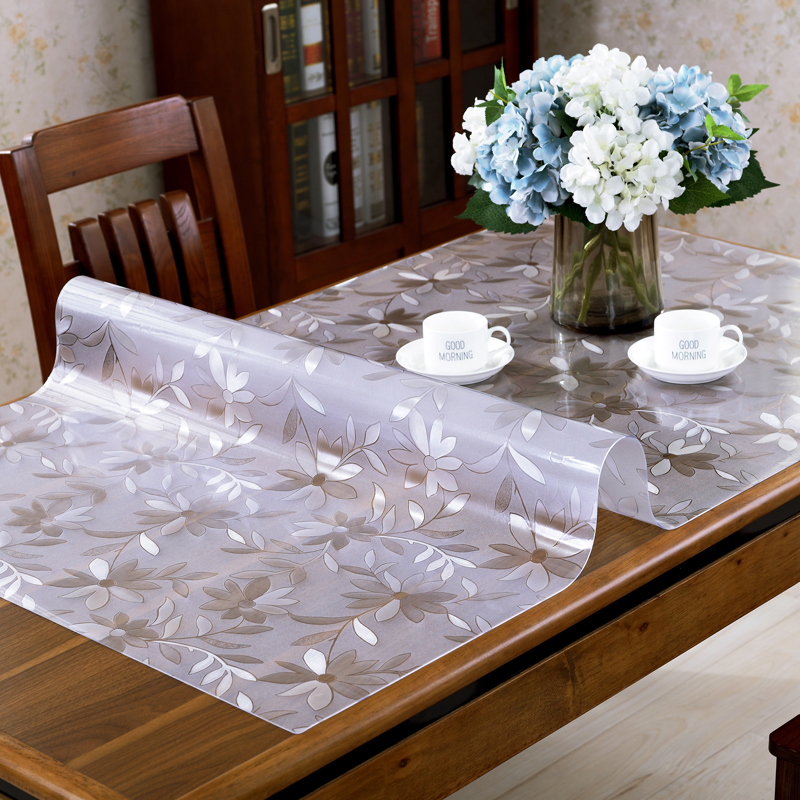 tarifiklan.com & PVC Waterproof Tablecloth Transparent Tablecloth Kitchen Table Cover Oil Cloth Nappe Soft Glass Table cloth Table Cloth 1.0mm