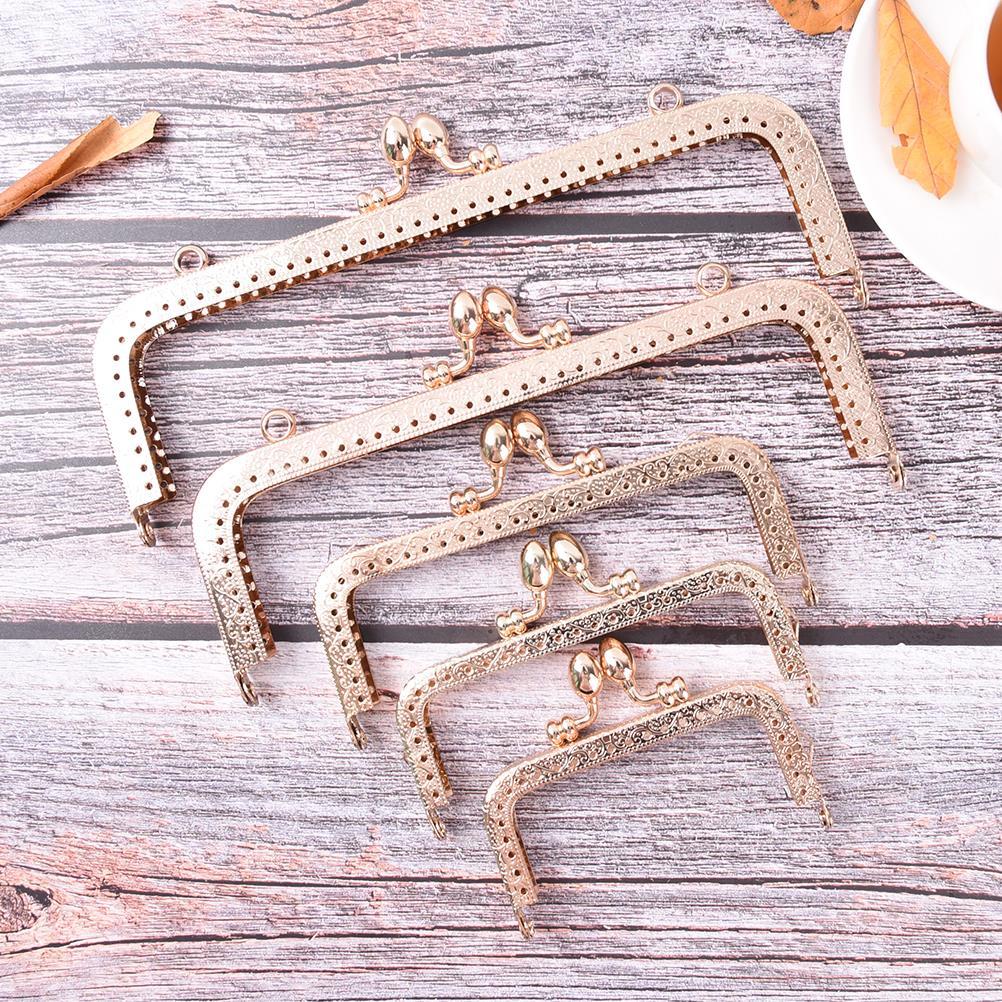 6Sizes Light Gold DIY Purse Handbag Handle Coins Bags Metal Kiss Clasp Lock Frame 8.5/10.5/12.5/15/18/20cm For DIY Purse Bag