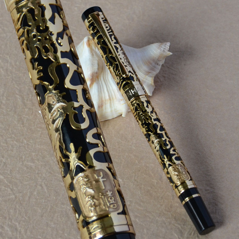 JINHAO 5000 DRAGON EMBOSSED ROLLER BALL PEN BLACK AND GOLDEN jinhao ancient dragon playing pearl roller ball pen with jewelry on top with original box free shipping