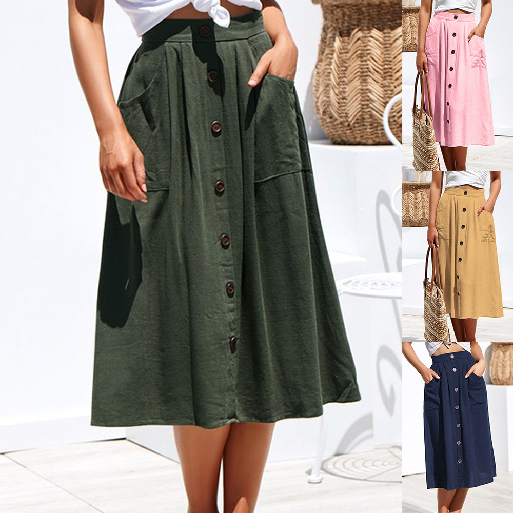 Women Vintage Skirt Mid-Calf Length Single Breasted Pockets Skirt Casual Loose Female Vacation Skirt 2019 Spring New Arrival