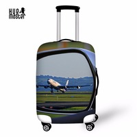 HUEMASTER Protective Covers For Suitcases Aircraft Pattern Luggage Cover High Elastic Travel Accessories Dust Suitcase Cover
