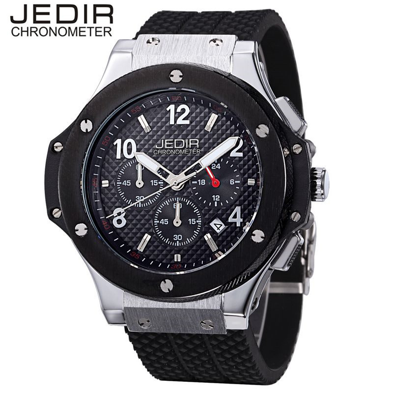 JEDIR Men's Mult-function Sport Watch Silicone Watch Top Brand Military Watch Relogio Masculino Gift Box Free Ship