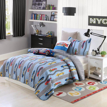 Free shipping children cartoon racing car kids printing patchwork quilt colcha 2pcs twin/single size bedspread boys bed cover AL