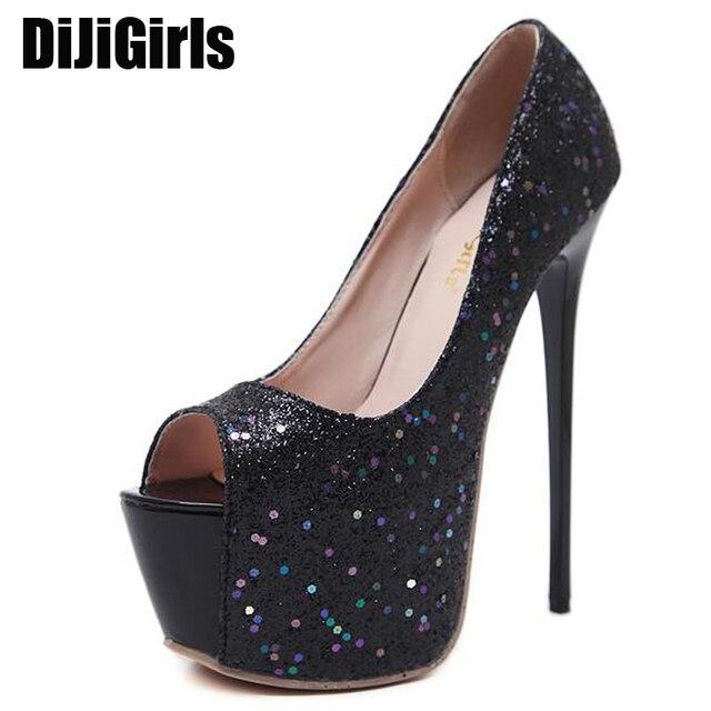 faebf1fc269e glitter shoes open toe heels women office shoes platform High Heels 16cm  ladies pumps Prom Shoes