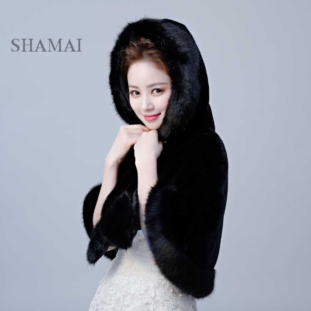 SHAMAI Black High Quality Winter Faux Fur Bridal Jacket Warm Boleros Luxurious Wedding Bride Wraps Cape Wedding Wrap With Hat
