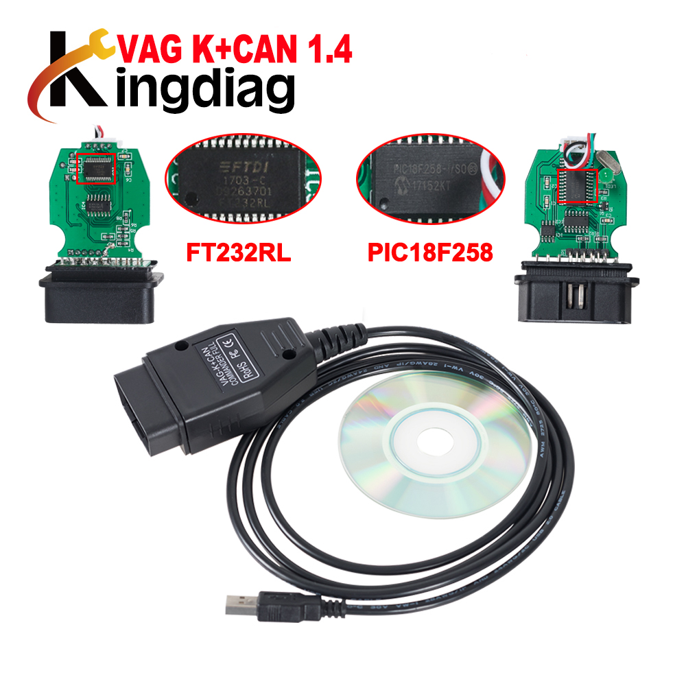VAG K+CAN Commander 1.4 with FTDI FT232RL PIC18F258 OBDII VAG ...