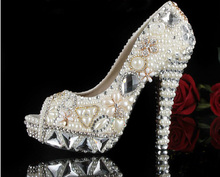 Silver Popular Formal Shoes Rhinestone Luxurious Pearl Beaded High-heeled Wedding Shoes Bridal Dress Shoes Size 34-43