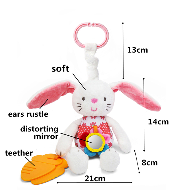 2016 New Baby Bunny Stuffer Toy  Baby Toy Soft Plush Rabbit Bed Hanging Animal Toy Teether Multifunction Doll