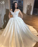 Custom Made Wedding Dresses 2019 Ball Gown Cap Sleeve Satin Lace Beading Luxury Formal Bridal Wedding Gowns Plus Size ZD95