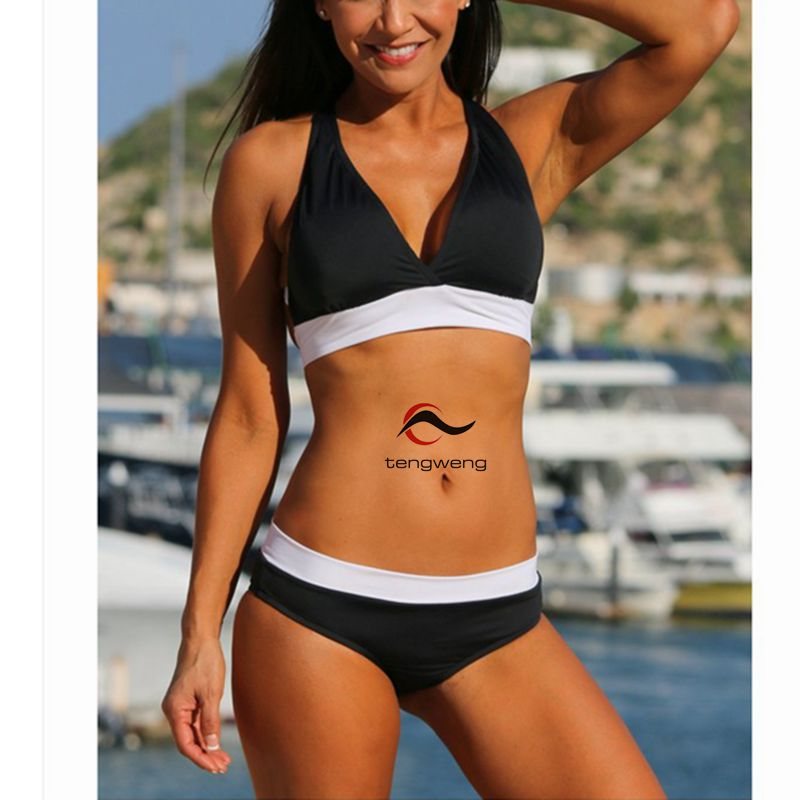 2017 New Sexy Women Black Swimsuit Push Up Bikini Set Halter Swimwear Criss Cross Bandage Beach Wear Brazilian Sport BathingSuit