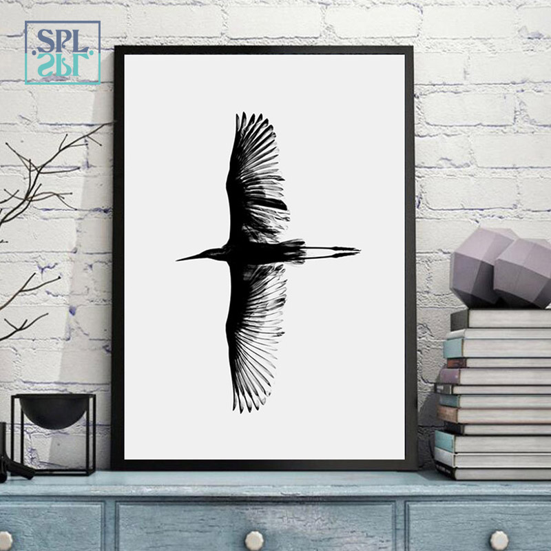 splspl unframed black and white simple canvas art painting flying