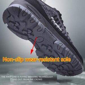 Image 3 - Botas de trabalho femininas com bico de aço, botas de trabalho para mulheres, malha respirável, leve, antiderrapante, sapatos de segurança tamanho 40
