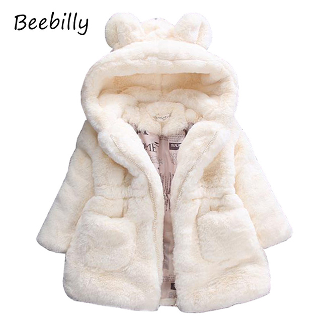 Winter Baby Girls Faux Fur Fleece Coat Party Pageant Warm Jacket Xmas Snowsuit Baby Outerwear Children Clothes D5