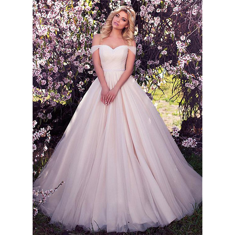 A-Line Wedding Dresses 2019 Beading with Tulle White/Ivory Princess Wedding Gown Bride marry dress Robe de mariee  Tailored