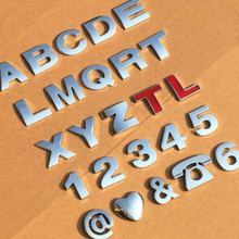 цена на silvery height 2.5CM Letter alphabet number digit car emblem Letters T U V W X Y Z 1 2 3 4 5 6 7 0 for modify decoration