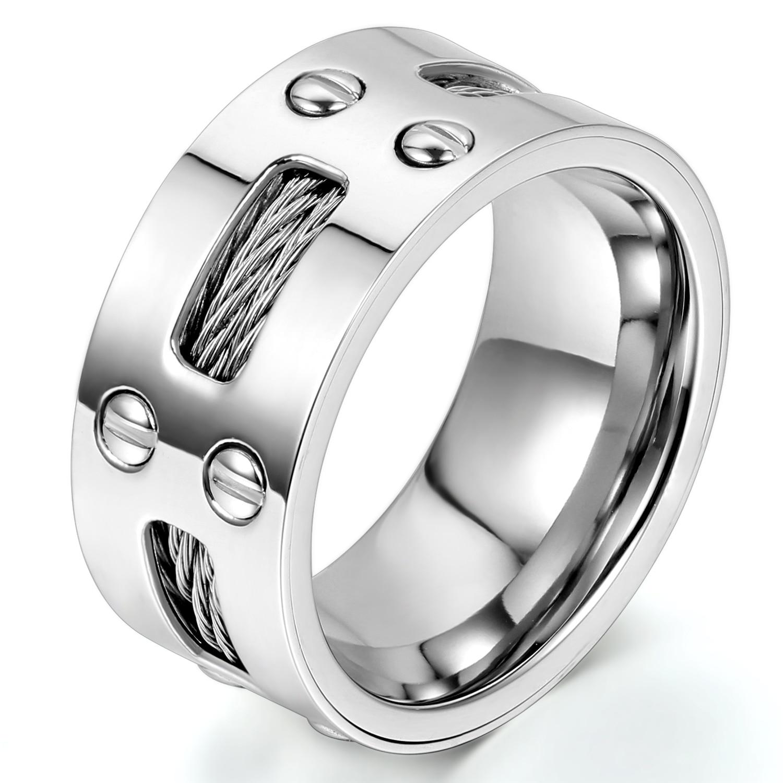Keren Pria Stainless Steel Cincin Engagement Pernikahan Pencocokan Jack Antena Tv Colokan Male Cowok Besi Silver Anti Karat Band Dengan Baja Kabel Dan Sekrup 9mm Ukuran 7 13