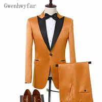 Gwenhwyfar 2018 Orange Men Suit For Wedding Elegant Groom Tuxedo Bespoke Color Satin Mens Suits Fashion Prom Jacket with Pants