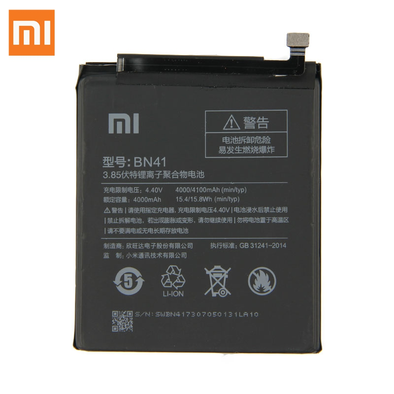 Original Replacement Battery For xiaomi Redmi Note 4 Hongmi Note4 BN41 Genuine Phone Battery 4100mAh