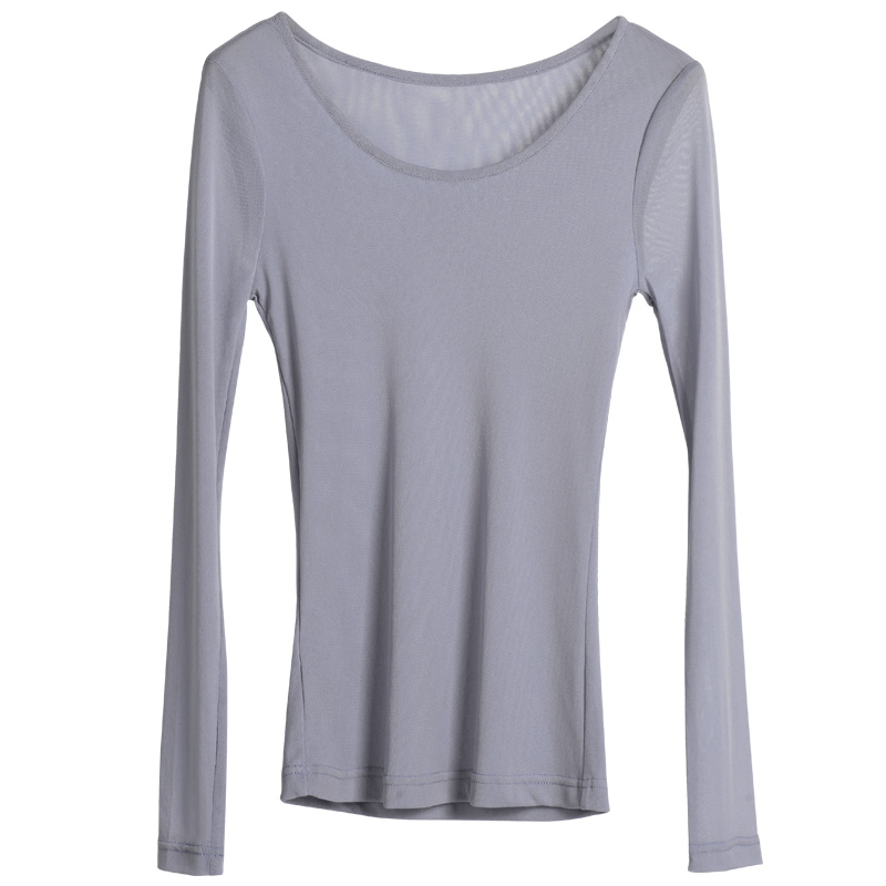Mesh bottoming shirt spring autumn new women 39 s large size thin section primer long sleeved shirt autumn clothes black t shirt in T Shirts from Women 39 s Clothing
