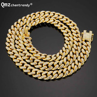 News Arrival Mens Miami Curb Cuban Chain Necklace Bling Iced Out With Luxury Box Rhinestone Clasp Lock Necklace Drop Shipping