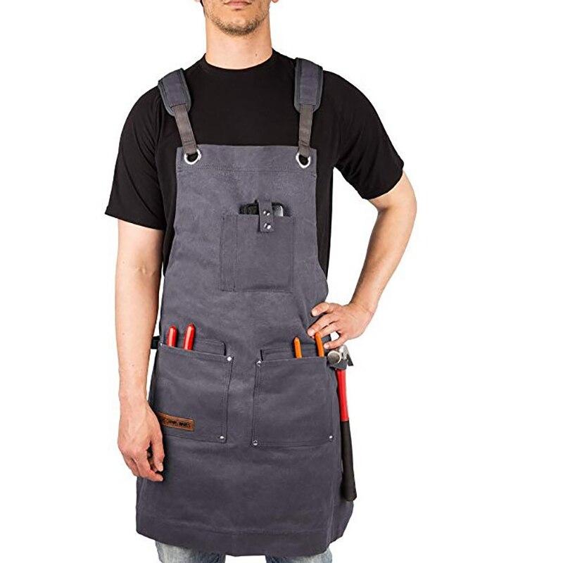 Grande taille tablier de jardin hommes femmes gris toile tablier pour matériel Multi poches unisexe Vintage fort outil tablier