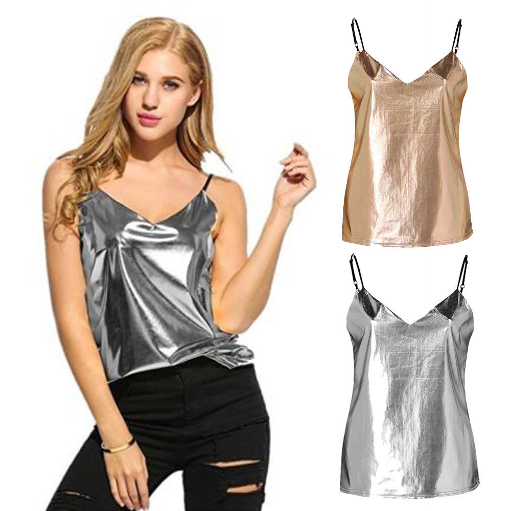 Summer New Womens Sexy Metallic Vest Camis   Tank     Tops   Fashion Female Sleeveless   Tank   Gold Silver Solid V-Neck   Tops   T-shirts