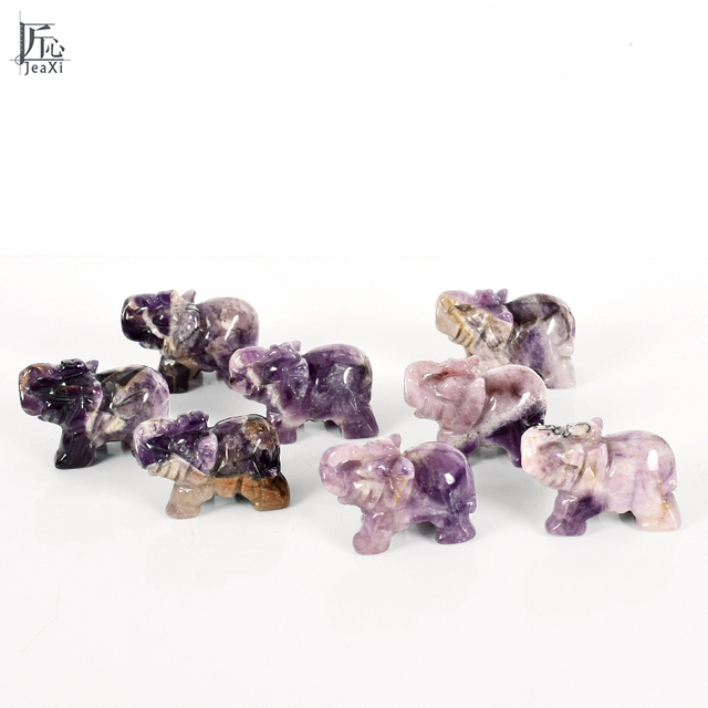 2 Inch Elephant Figurines Craft Carved Natural Stone Amethyst  Elephant Mini Animals Statue for Home Decor Chakra Healing