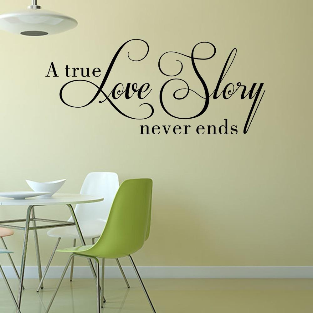 Kisah cinta sejati tidak pernah berakhir wall decal dekorasi rumah ruang tamu kamar tidur diy seni