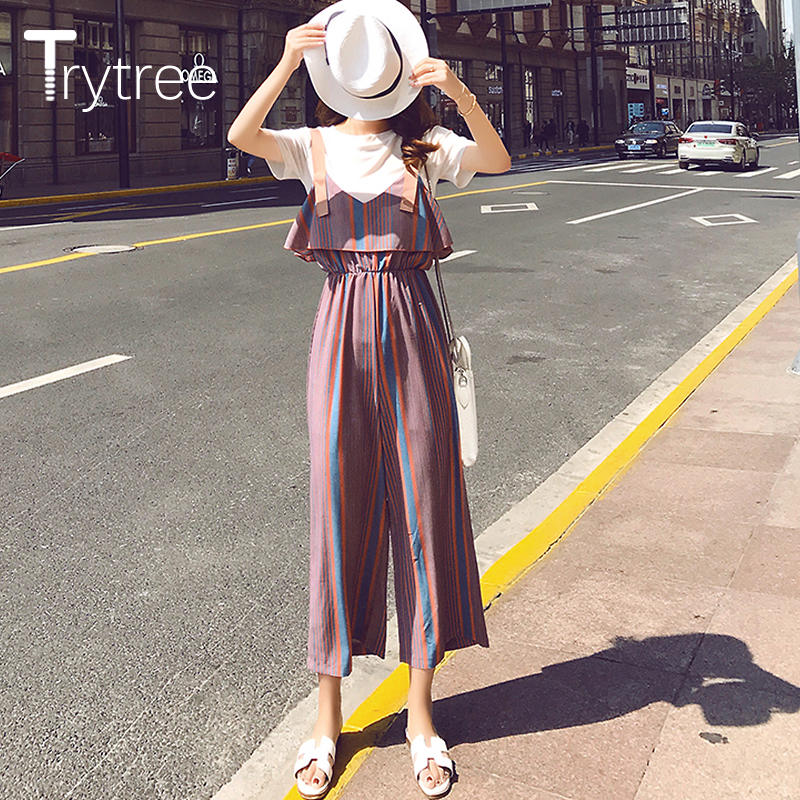 Trytree Spring Women Striped   Pants   Casual Bib   Wide     Leg     Pants   Women Elastic Elastic Waist Fly   pants   Female Plus Size