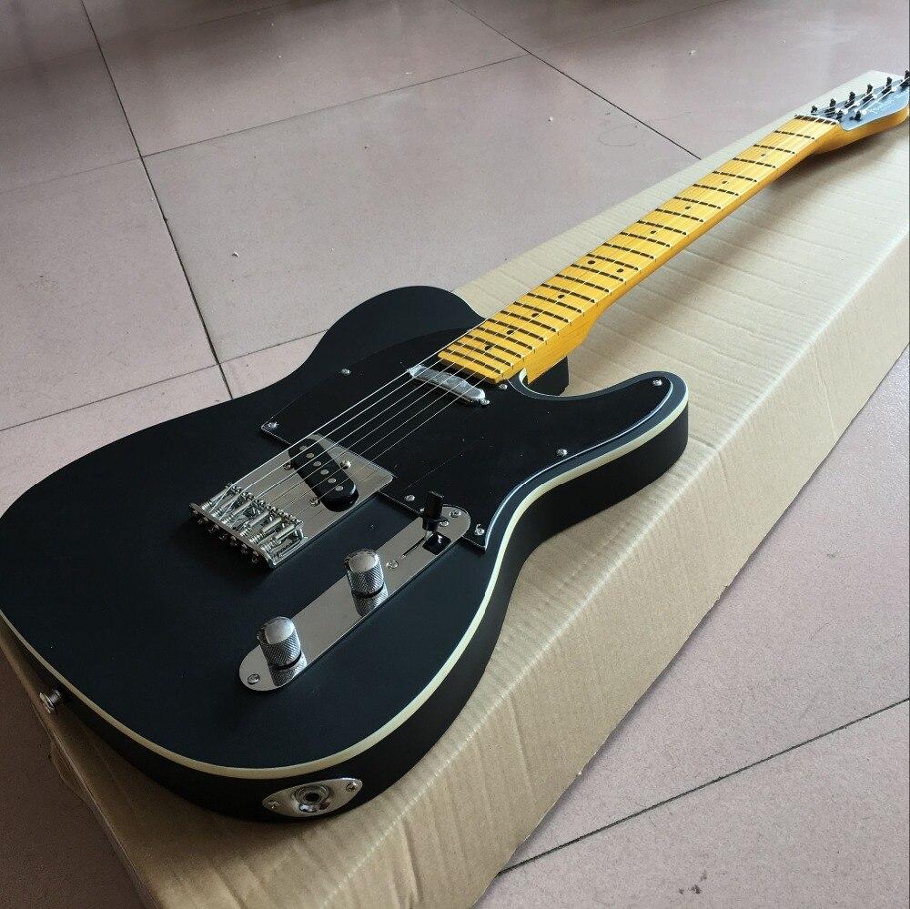 Boutique sur mesure, TELE 6 cordes érable touche guitare électrique, telecasterr gitaar. noir haut de couleur guitarra, vraies photos