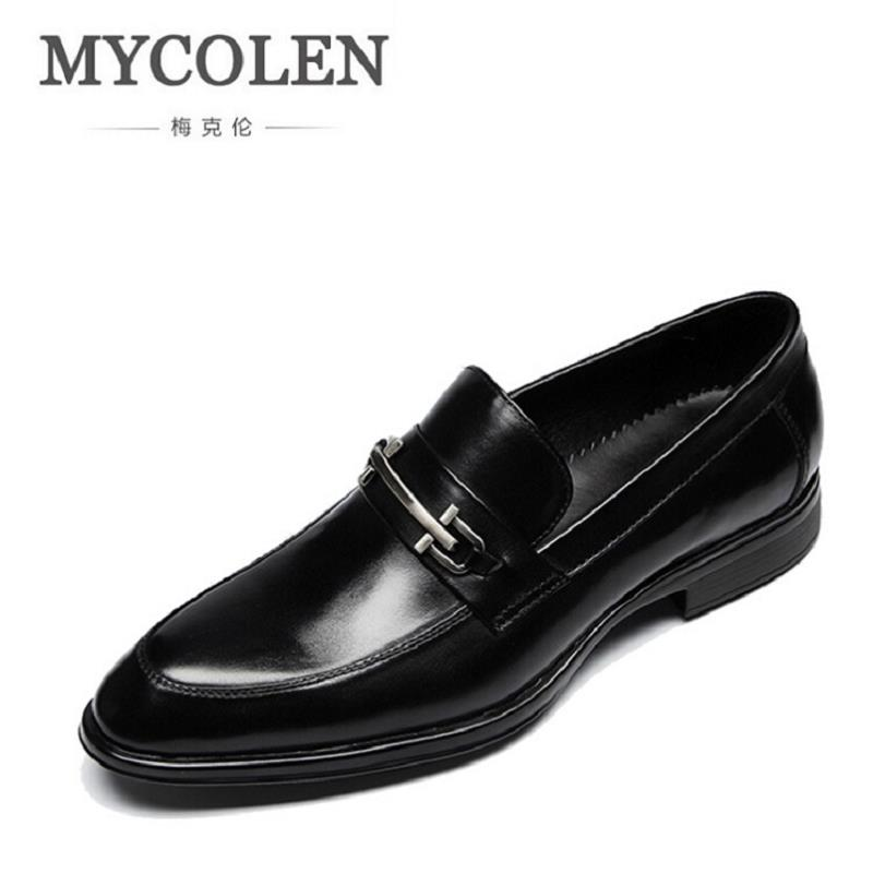 MYCOLEN Men Oxfords Handsome Comfortable Brand Cowhide Leather Men Dress Shoes Men Business Black Loafer Mocassin Homme