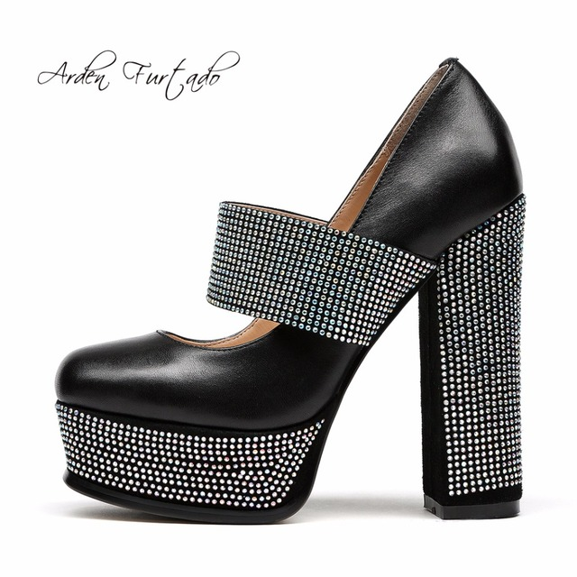 Arden Furtado 2018 spring autumn shoes high heels 14cm chunky heels  platform shoes for woman genuine 6a364f3be8f1
