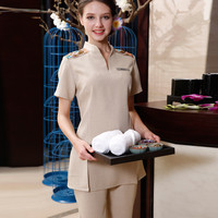 Free Shipping Beautician Work Clothes High Quality Embroidered Top+Pants Overall Beauty Hospital Nurse Uniform Massage SPA Wear